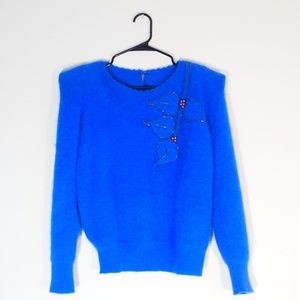 Vintage Puff Shoulders Bright Blue Angora Sweater
